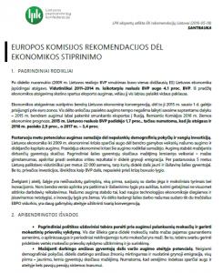 Europos Komisijos rekomendacijos Lietuvai dėl ekonomikos stiprinimo